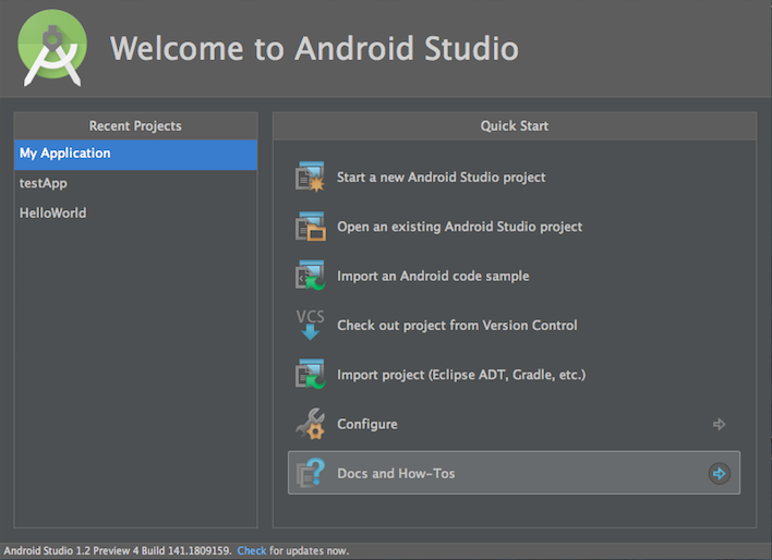 Android Studioを起動