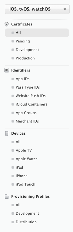Apple Developer ProgramのMember Centerのメニュー