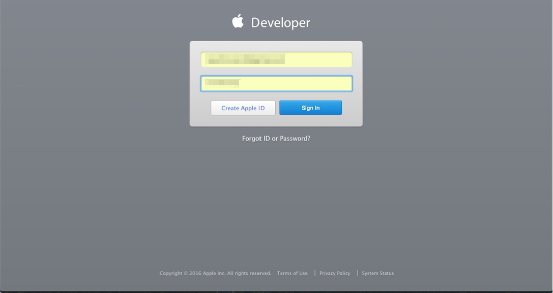 Apple Developer Sign in