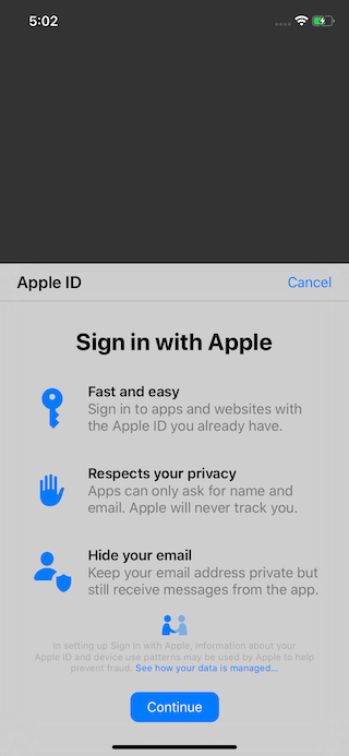 Sign In with Appleの画面